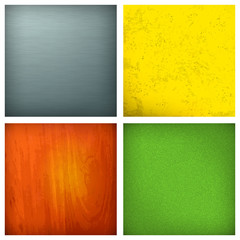 Set of backgrounds, metallic, wooden, fabric and grunge,