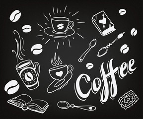 Set of hand drawn coffee theme elements