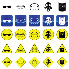 warning sign for wearing the eyes protection accessories vector