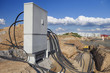 Leinwanddruck Bild - Stromkabel Verteiler Zukunft