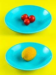 Tomate Limón Plato Azul