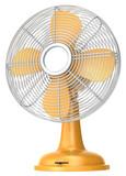 Table fan.Orange table fan.