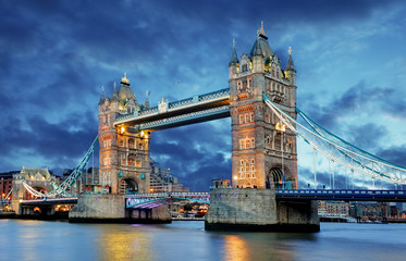 Tower Bridge in London, UK, by night