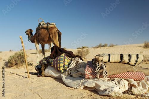 Fotobehang Tunesië Matériel de bivouac de bédouins dans le désert