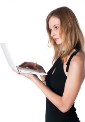 Attractive blonde girl with laptop