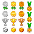 Soccer sport medals and awards set