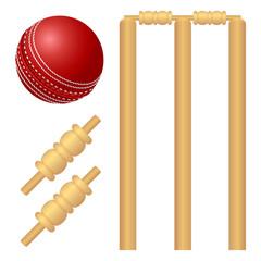 Cricket ball and stump illustration