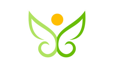 green abstract butterfly logo