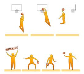 Basketball human sport silhouettes