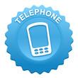 téléphone sur bouton web denté bleu