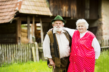 Senior couple on farm