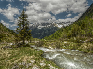 Bach in den Alpen in HDR