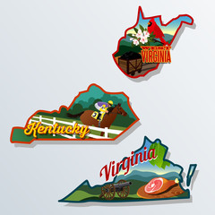 Kentucky, Virginia, West Virginia luggage stickers