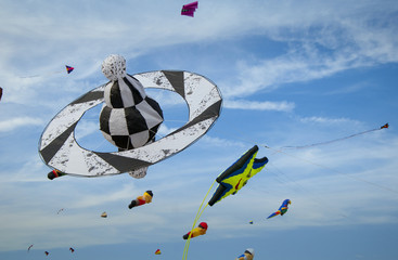 Different kites in the sky