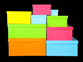Gift boxes on black