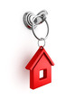 key with red house trinket in keyhole - 65390809