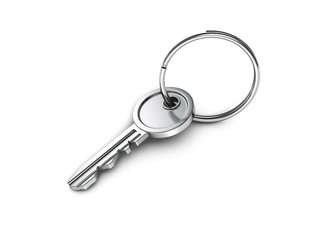metallic door key with ring on white background