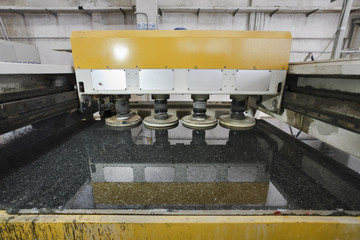 Italy, marble factory, sliced marble polishing - industrial