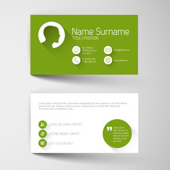 Modern green business card template with flat user interface