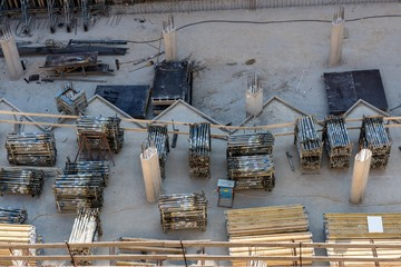 Construction site with wood and metal