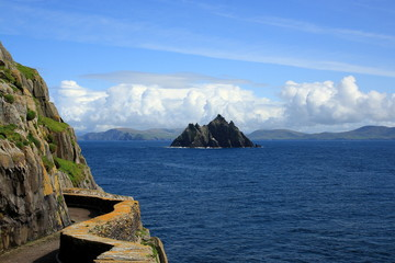 Ireland view from Skellig Michael to Little Skellig
