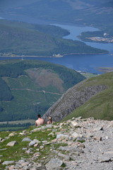 People hiking on path to the Ben Nevis summit