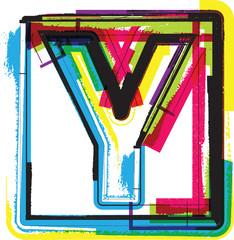 Colorful Grunge Font LETTER Y