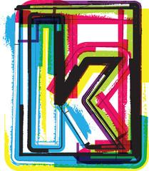 Colorful Grunge Font LETTER k