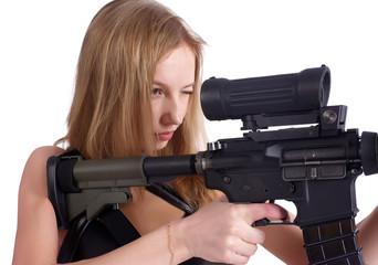 beautiful young woman aiming