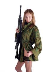 Woman with gun on white