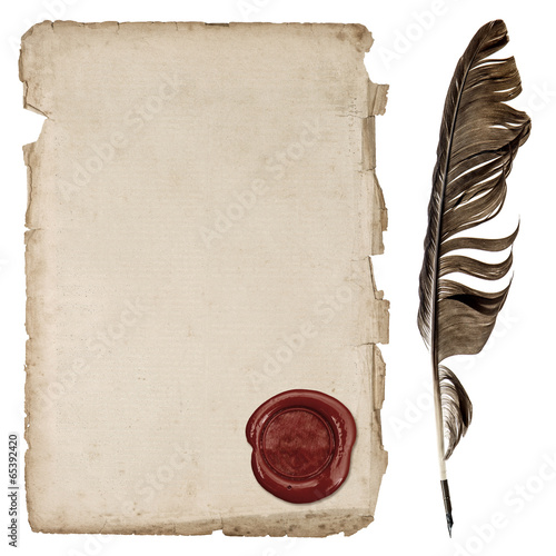Fotobehang Retro aged paper sheet with wax seal and ink feather pen