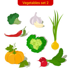 Vegetables high detail vector icon set. Broccoli, garlic, onions