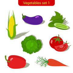 Vegetables high detail vector icon set. Corn, tomato, cucumber.