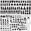 woman fashion icons, paper doll, isolated clothing silhouette - 65393889