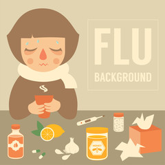 cold woman, medical vector illustration, flu symptom