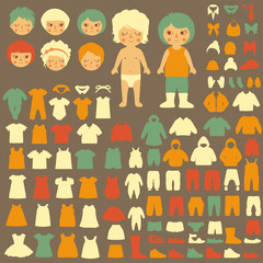 baby icons, paper doll, fashion isolated clothing silhouette