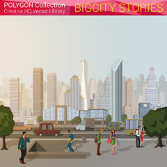 Polygonal style city concept. Urban city design elements.