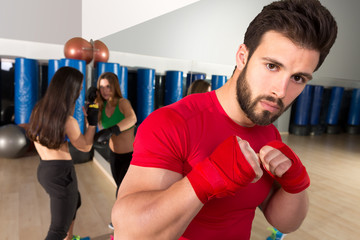 Boxing aerobox man portrait in fitness gym