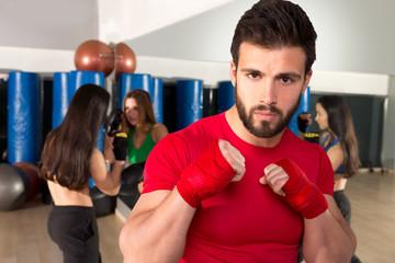 Boxing aerobox man portrait in fitness gym