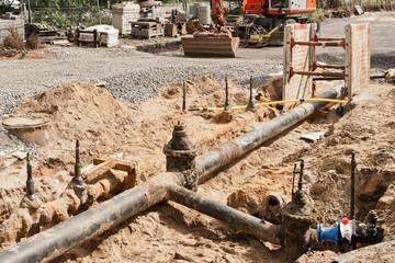 Arbeiten an einer alten Frischwasserleitung