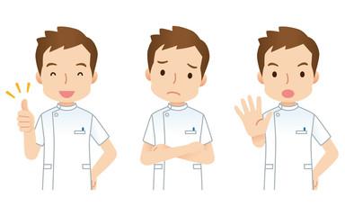 男性 看護師 介護士 表情
