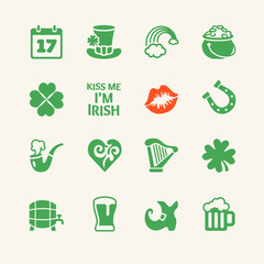 Saint Patrick's Day. Universal flat icons set