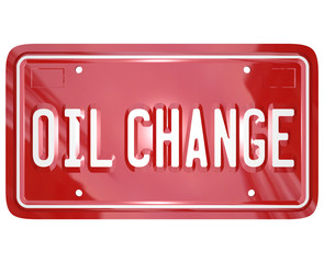 Oil Change Red Car License Plate Mechanic Service Repair Shop