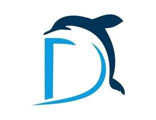 Dolphin logo symbol icon initials D