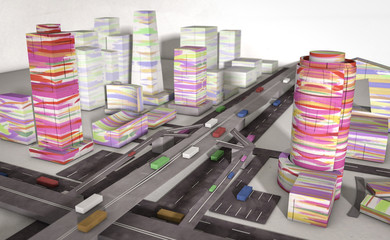 paper colorful city with machines