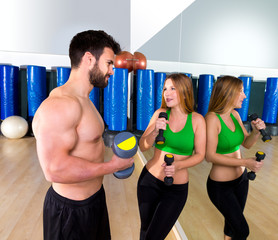 Dumbbell personal trainer man and woman talking
