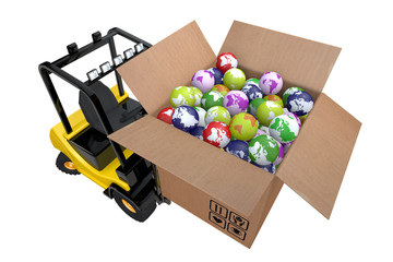 Loader with box full globes
