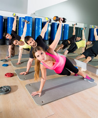 Dumbbell push up group functional training at gym