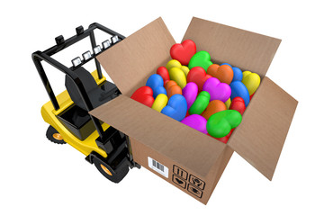 Loader with box full hearts of different colours
