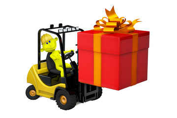 Yellow man on a loader with a gift by a holiday